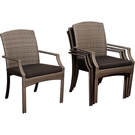 Rolland Gray Wicker 4-Piece Outdoor Armchair Set