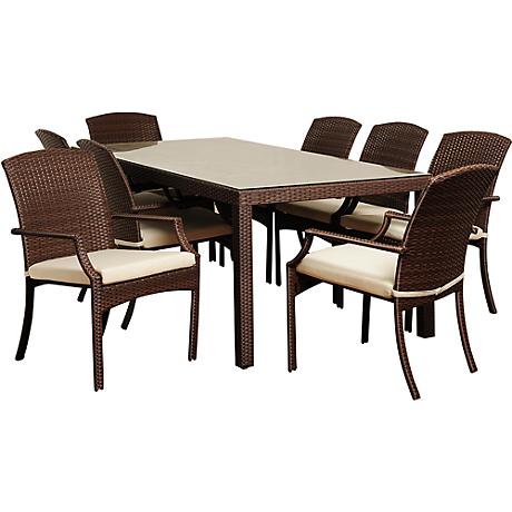 Rolland Brown Wicker 8-Piece Rectangular Patio Dining Set