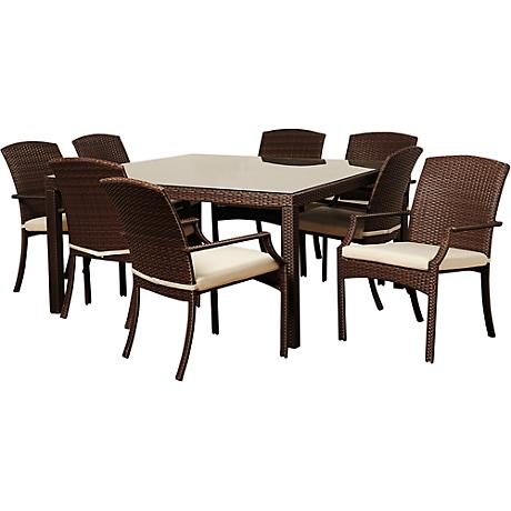 Rolland Brown Wicker 8-Piece Square Patio Dining Set