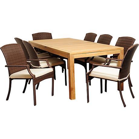Royce Brown Wicker 9-Piece Rectangular Patio Dining Set