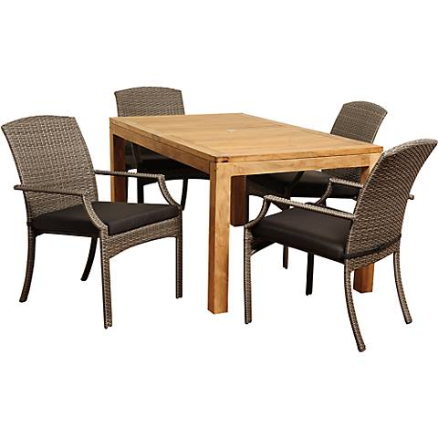 Cordero Gray Wicker 5-Piece Rectangular Patio Dining Set