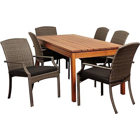Westford Gray Wicker 7-Piece Rectangular Patio Dining Set