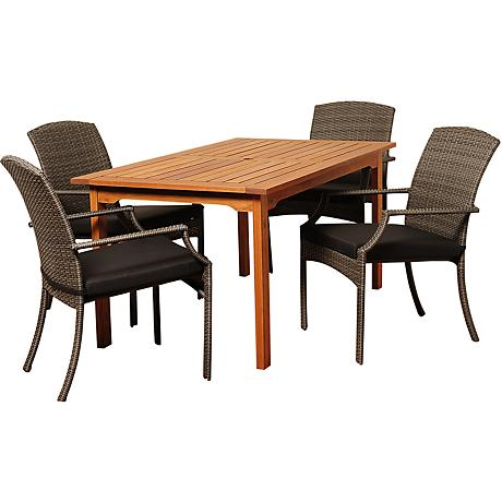 Warner Gray Wicker 5-Piece Rectangular Patio Dining Set