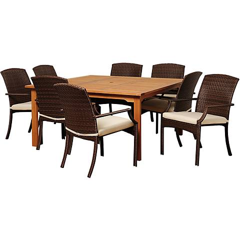 Via Segundo Brown Wicker 9-Piece Square Outdoor Dining Set