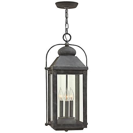 Anchorage 9 1 4 Wide Aged Zinc Outdoor Hanging Lantern 7V383 Lamps