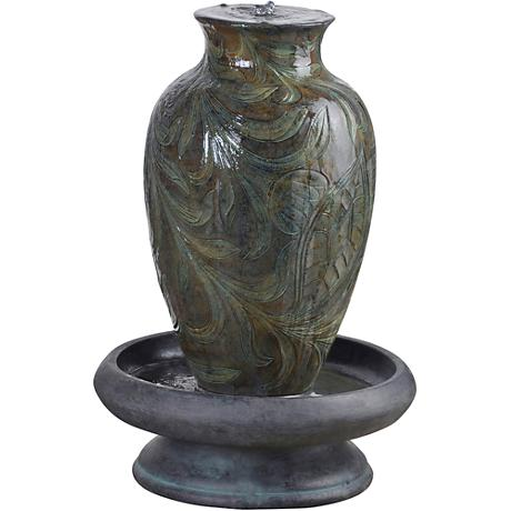 Brielle Engraved Relief Urn LED Fountain