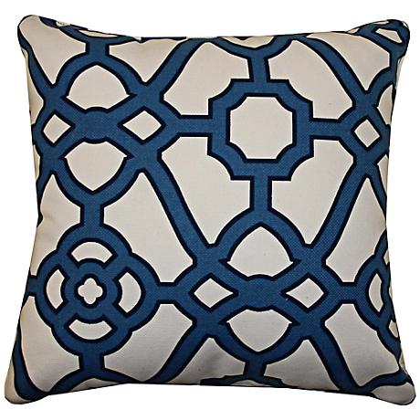 "Octagon Blue 20"" Square Decorative Outdoor Pillow"