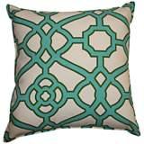 "Octagon Jade 20"" Square Decorative Indoor-Outdoor Pillow"