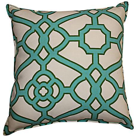 "Octagon Jade 20"" Square Decorative Outdoor Pillow"