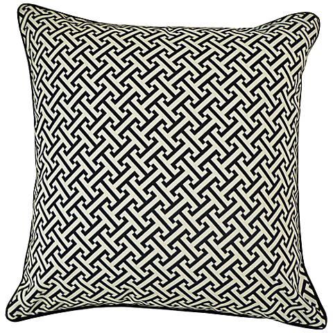 "Maze Black 20"" Square Decorative Indoor-Outdoor Pillow"