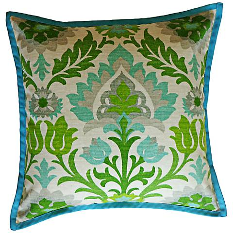 "Kiki Green 20"" Square Decorative Indoor-Outdoor Pillow"