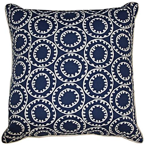 "Dunkin Navy Blue 20"" Square Decorative Indoor-Outdoor Pillow"