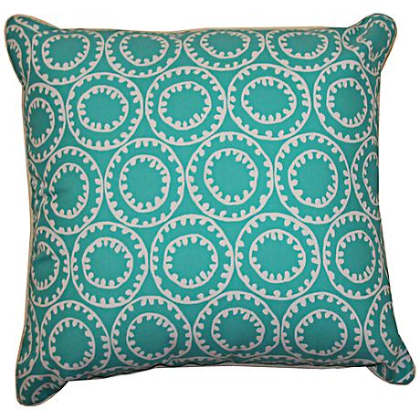 "Dunkin Turquoise Blue 20"" Square Decorative Outdoor Pillow"