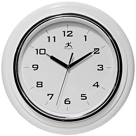 """White Deluxe 12 1/2"""" Round Modern Wall Clock"""