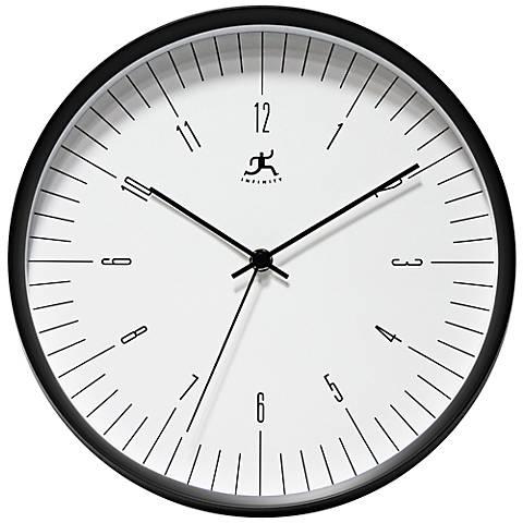 "Bel Air 12"" Round Modern Black Wall Clock"