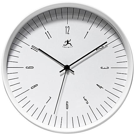 "Bel Air 12"" Round Modern White Wall Clock"