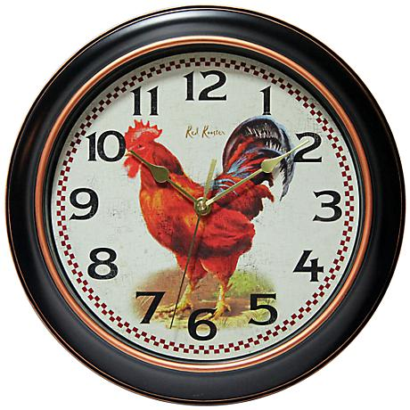 """Rotterdam 12"""" Round Red Rooster Wall Clock"""