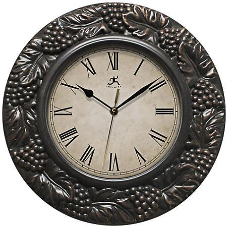 "Naples Grape 13 1/2"" Round Bronze Wall Clock"