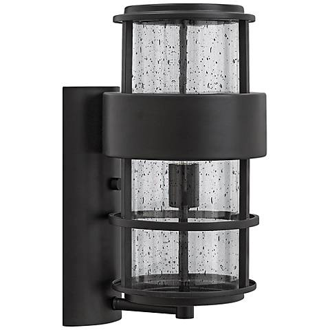 "Hinkley Saturn 8"" Wide Satin Black Outdoor Wall Light"
