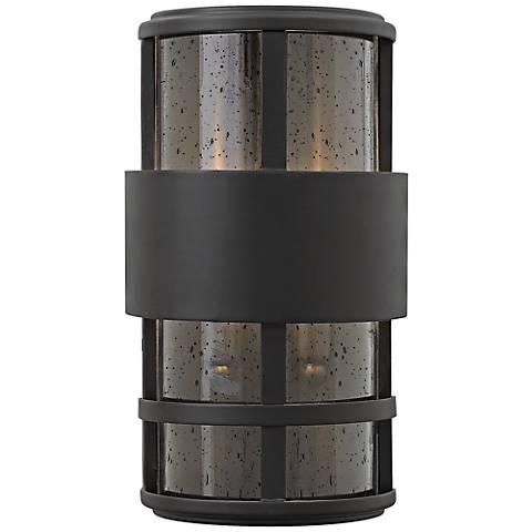 """Hinkley Saturn 7 1/4""""W Satin Black Outdoor Pocket Wall Light"""