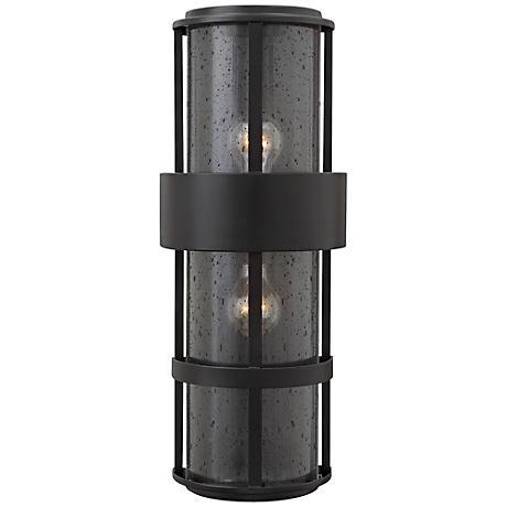 """Hinkley Saturn 8""""W Satin Black Outdoor Pocket Wall Light"""
