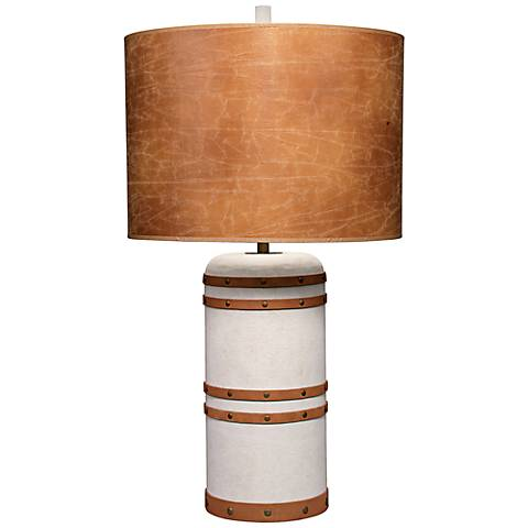 Jamie Young Barrel Vintage Canvas Wood Table Lamp