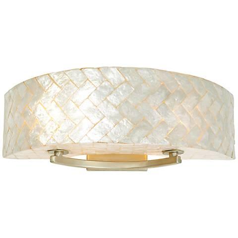 "Varaluz Radius 23"" Wide Herringbone Capiz Shell Bath Light"
