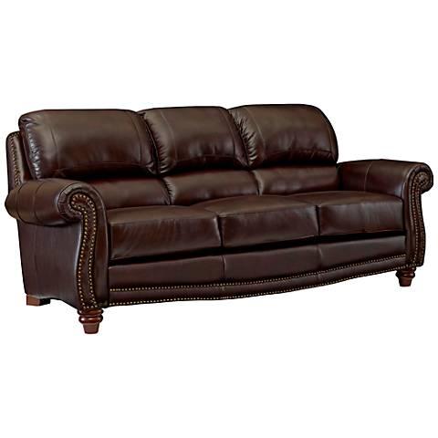 "James 84"" Wide Top Grain Leather Brown Sofa"