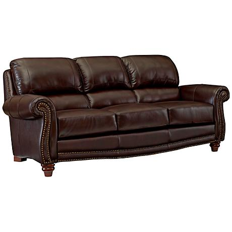James Top Grain Leather Brown Sofa