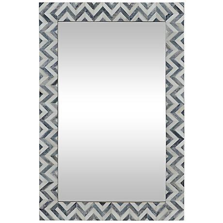 "Abscissa Gray Chevron 24"" x 36"" Rectangle Wall Mirror"
