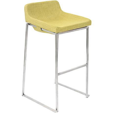 "Satori 30 1/2"" Vintage Green Fabric Barstool"