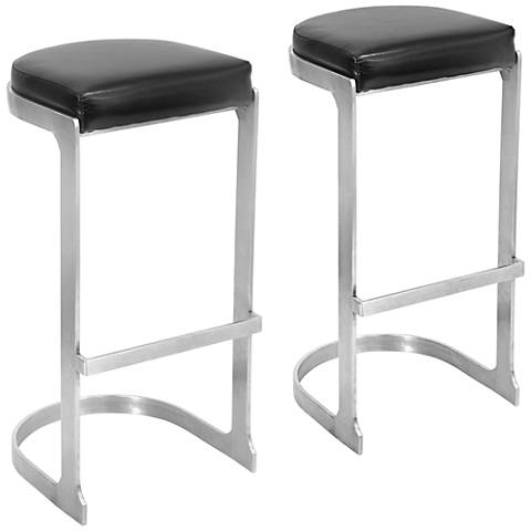 "Demi 30 1/2"" Stainless Steel and Black Barstools Set of 2"