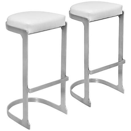 "Demi 30 1/2"" Stainless Steel and White Barstool"