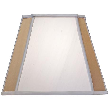 Stiffel Off-White and Tan Silk Shade 9/9x15/15x12 (Spider)