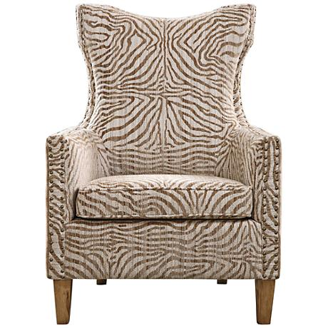 Uttermost Kiango Neutral Animal Stripe High-Back Armchair