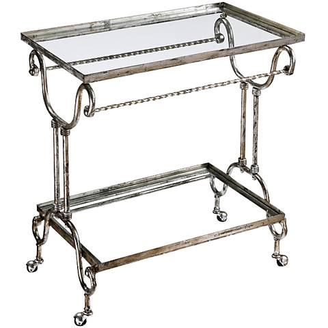 Acasia Metallic Silver Tea or Drink Cart by Uttermost