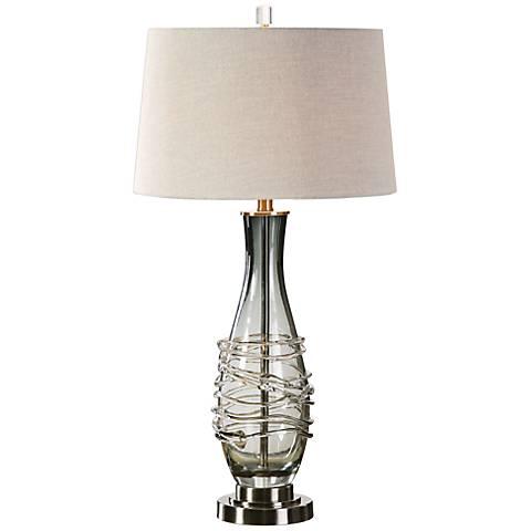 Uttermost Durazzano Charcoal Gray Glass Table Lamp