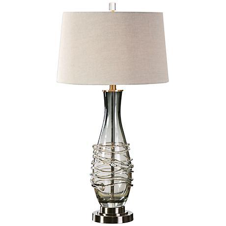 uttermost durazzano charcoal gray glass table lamp. Black Bedroom Furniture Sets. Home Design Ideas