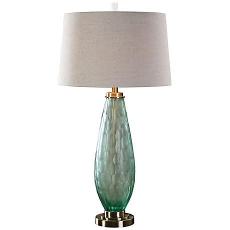 lenado frosted sea green glass table lamp 7w431 lamps plus. Black Bedroom Furniture Sets. Home Design Ideas