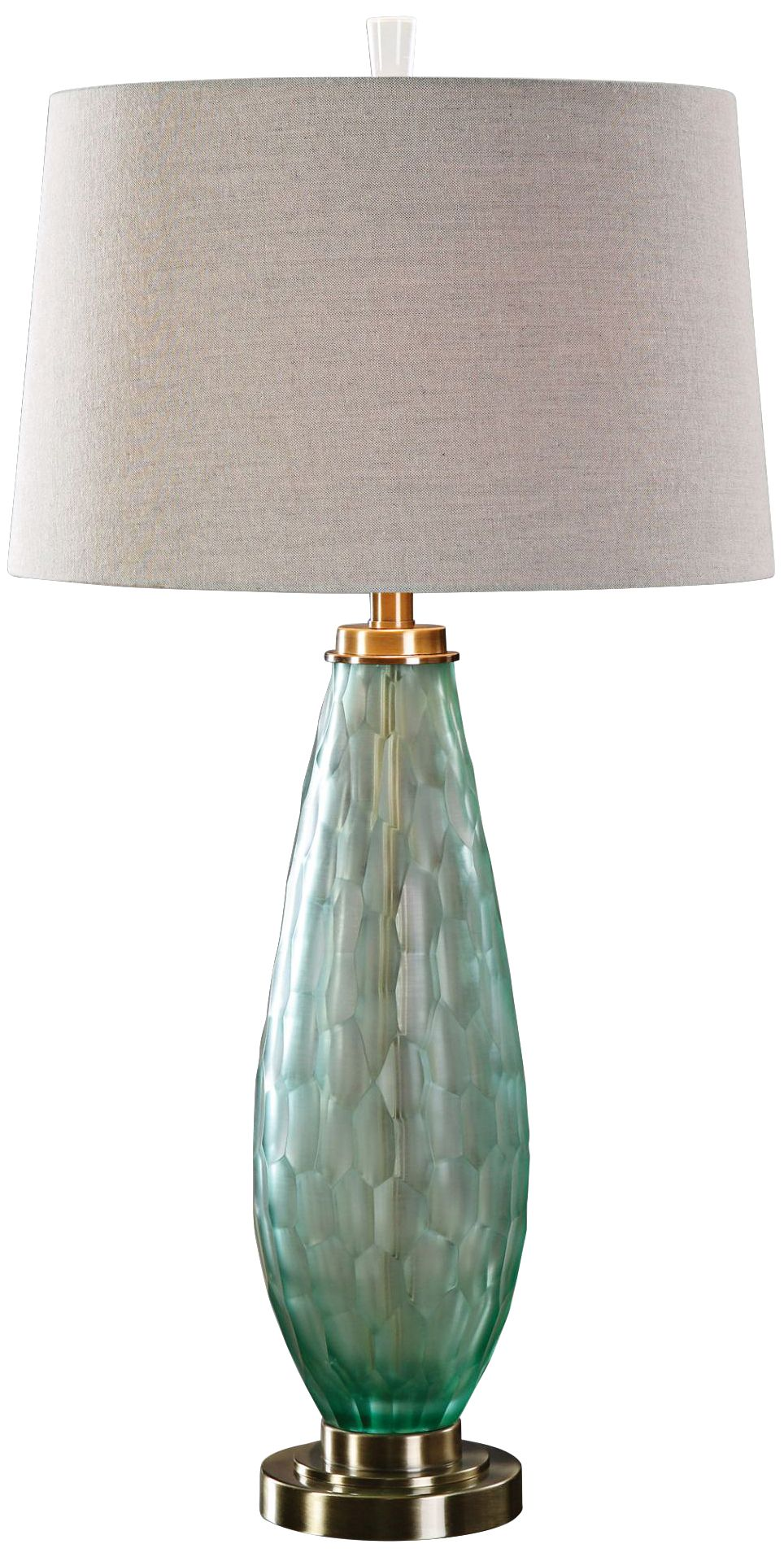 uttermost lenado frosted sea green glass table lamp - Uttermost Lamps