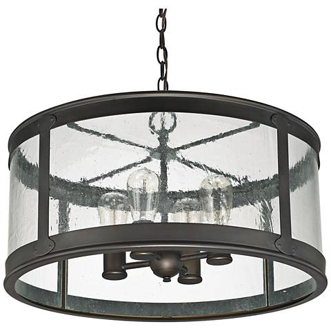 "Capital Dylan Glass 22"" Wide Bronze Outdoor Hanging Light"