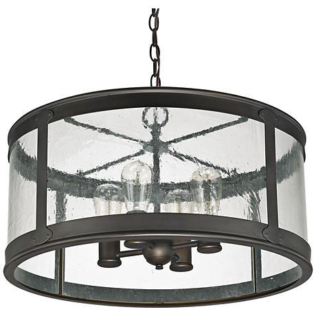 "Capital Dylan Glass 22"" Wide Bronze Outdoor Hanging Light"