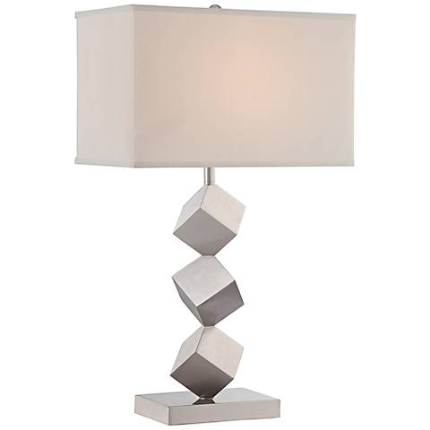 Lite Source Agostino Satin Nickel Stacked Cube Table Lamp