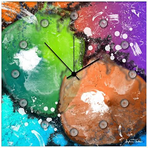 "Radioactive Neon 22"" Square Metal Wall Art Clock"