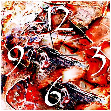 "Hot Jazz Red Neon 22"" Square Metal Wall Art Clock"
