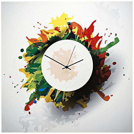 "Paint-Splatter 22"" Square Abstract Metal Wall Art Clock"