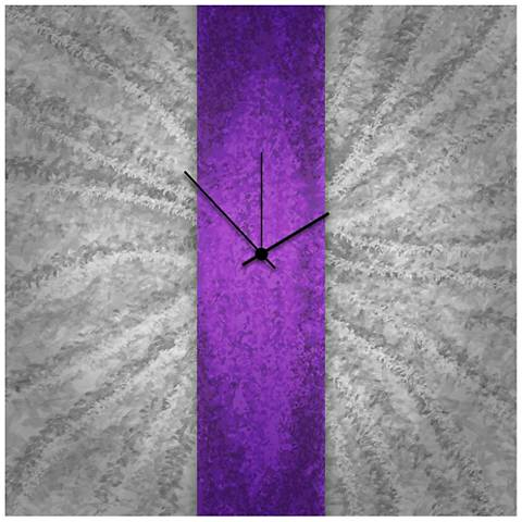 "Violet Stripe 22"" Square Abstract Metal Wall Art Clock"