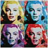 "Marilyn Monroe Pop 22"" Square Metal Wall Art Clock"