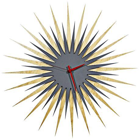 "Maple Gray and Red Atomic Starburst 23"" Round Wall Clock"