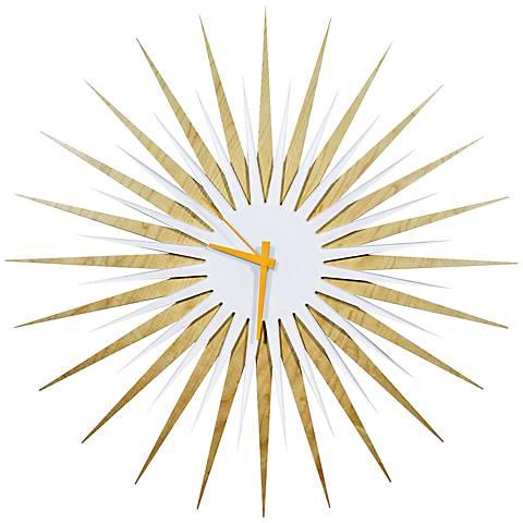 """Maple White and Orange Atomic Starburst 23"""" Round Wall Clock"""